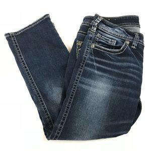 Silver Jeans Jeans - Silver Jeans Womens Aiko Low Capri Size W28 Dark